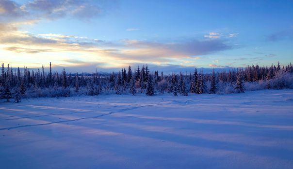 Photo free Alaska, winter, sunset