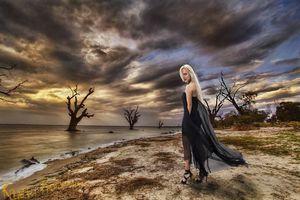 Заставки девушка у моря, блондинка, модель