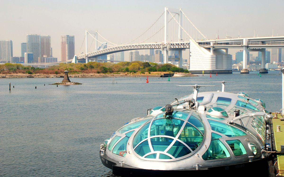Фото бесплатно река, буи, речной трамвай, мост, дома, высотки, город
