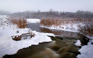 Бесплатные фото зима,река,снег,трава,деревья