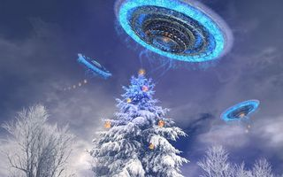 Photo free trees, snow, UFO