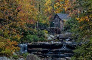 Бесплатные фото Glade Creek Grist Mill, West Virginia, водяная мельница, водопад, скалы, пейзаж