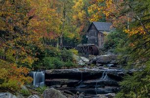 Фото бесплатно водопад, водяная мельница, Glade Creek Grist Mill