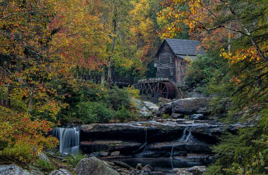 Photo free waterfall, watermill, Glade Creek Grist Mill