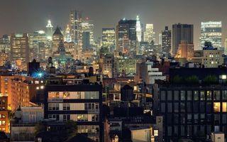 Фото бесплатно ночь, дома, здания, небоскребы, окна, огни