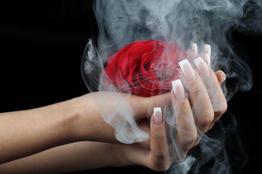 Бесплатные фото роза,цветок,руки,дым,vape