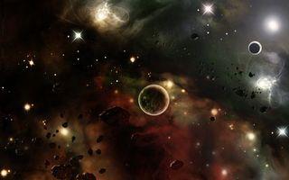 Заставки космос,планеты,метеориты,звезды,свечение,невесомость
