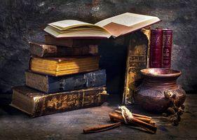 Бесплатные фото натюрморт,композиция,горшок,сосуд,книги,старина,стол