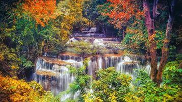 Бесплатные фото Канчанабури, Таиланд, водопад, каскад, река, осень