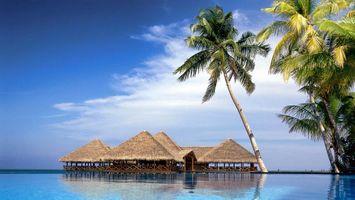 Фото бесплатно Домики, океан, пальмы