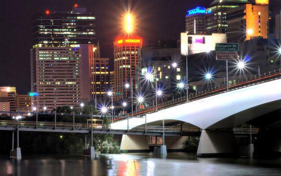 Фото бесплатно река, мост, фонари