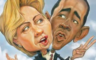 Заставки рисунок,карикатура,шарж,Барак Обама,Хиллари Клинтон