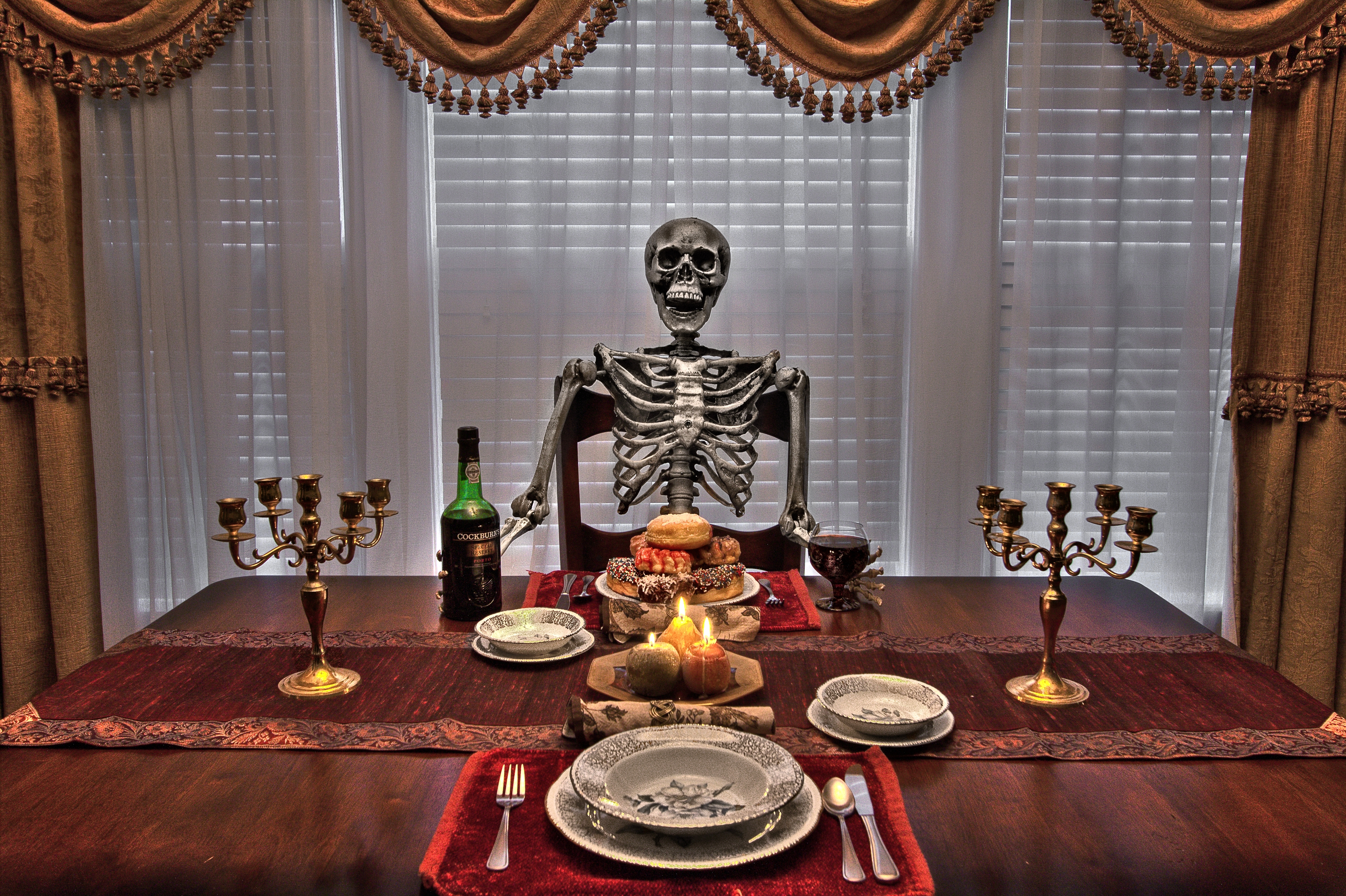 Обои стол, еда, посуда, свечи