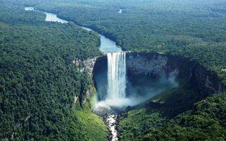 Фото бесплатно водопад, каньон, река, деревья
