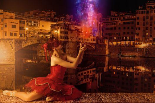 Понте Веккьо,Флоренция,девушка,балерина,красотка