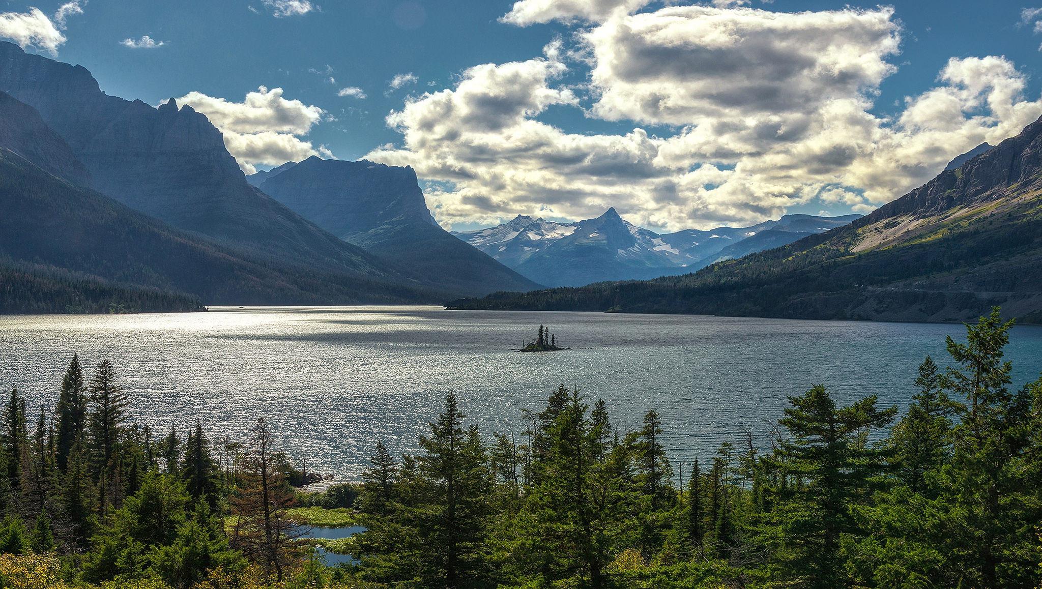 обои Saint Marys Lake, Montana, озеро, горы картинки фото