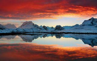 Заставки красный,закат,солнца,озеро,горы,холмы,небо