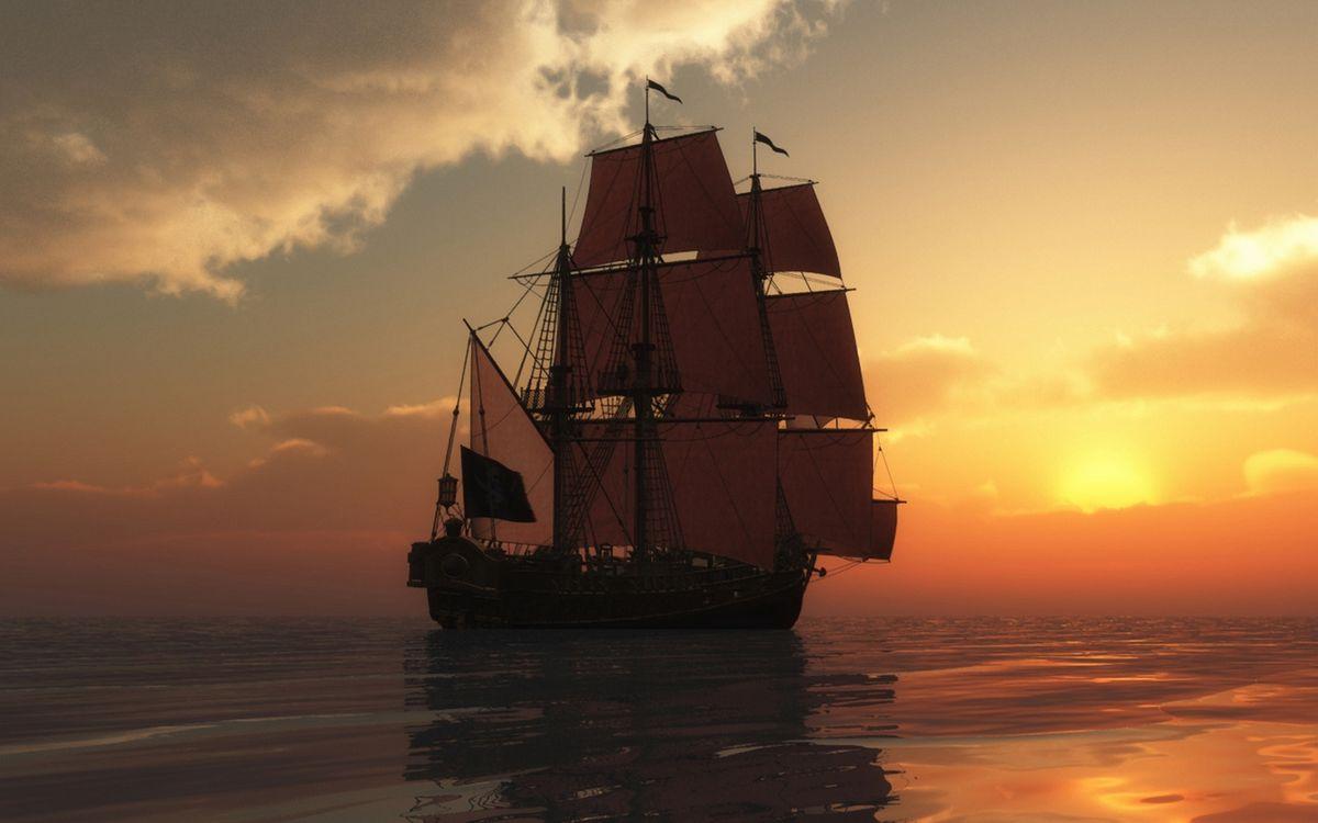 Фото бесплатно море, корабль, паруса, мачты, закат, облака, корабли