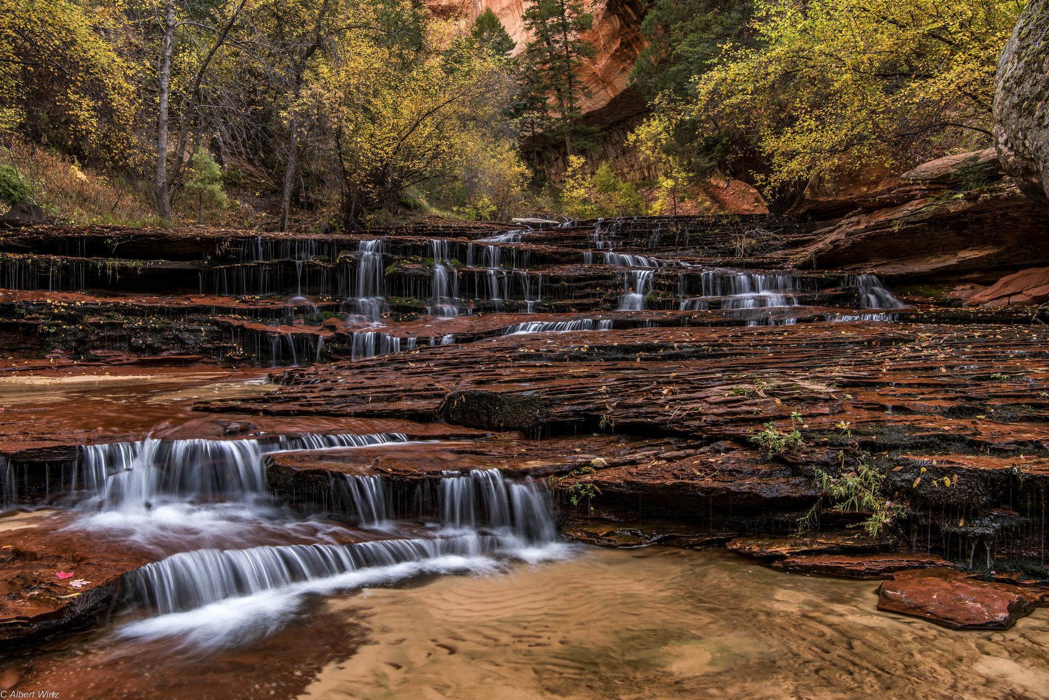 обои Национальный парк Зайон, Архангел Каскады, осень, скалы картинки фото