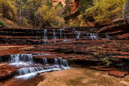 Заставки Национальный парк Зайон, Архангел Каскады, осень