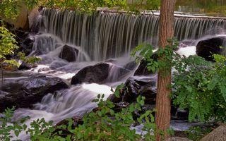 Бесплатные фото река,течение,водопад,камни,деревья,листва
