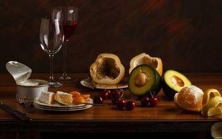 Фото бесплатно фрукты, апельсин, вишня