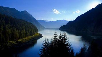 Заставки река, горы, деревья, небо, облака, природа