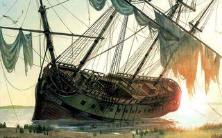Фото бесплатно рисунок, берег, море, мель, корабль, крен, палуба, мачты, паруса