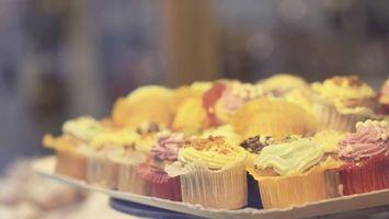 Photo free cake, muffins, cream