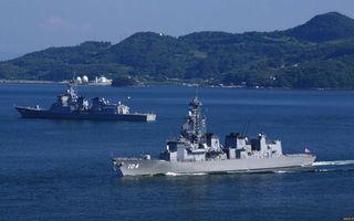 Фото бесплатно военные корабли, палубы, вооружение, антенны, море, остров