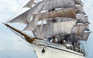 Фото бесплатно корабль, белый, мачты, паруса, небо, облака