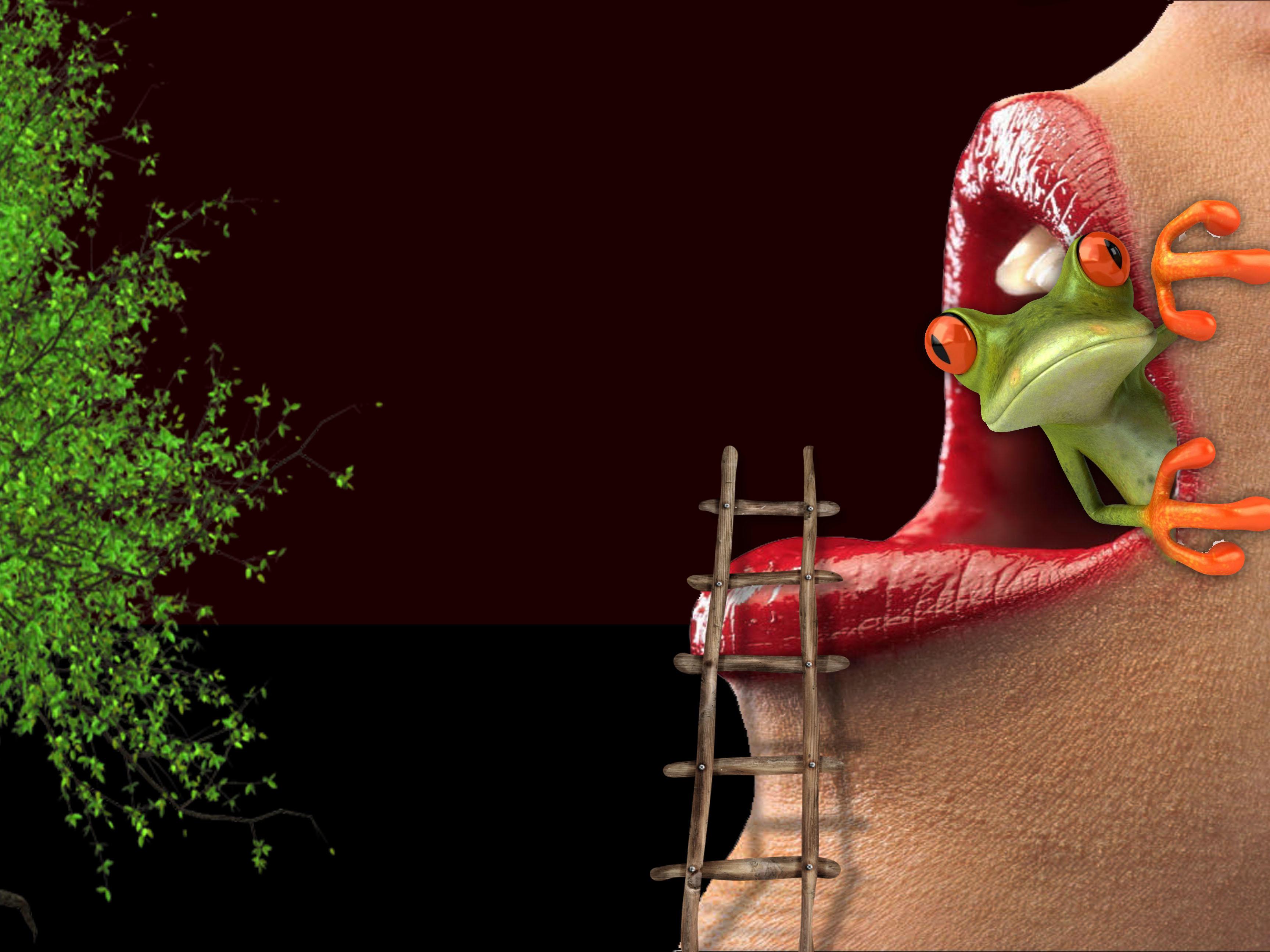 Обои рот, губы, лягушка, art