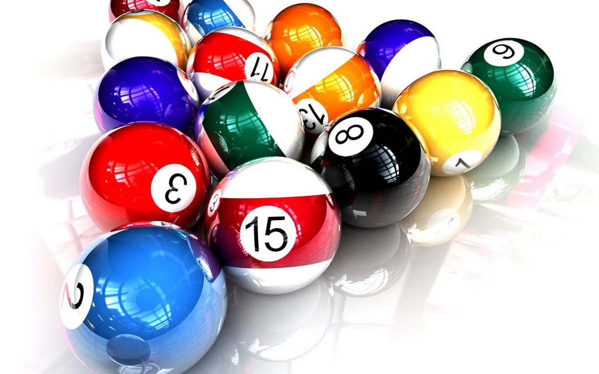 Фото бесплатно бильярд, шары, цветные, цифры, поверхность, отражение, игры