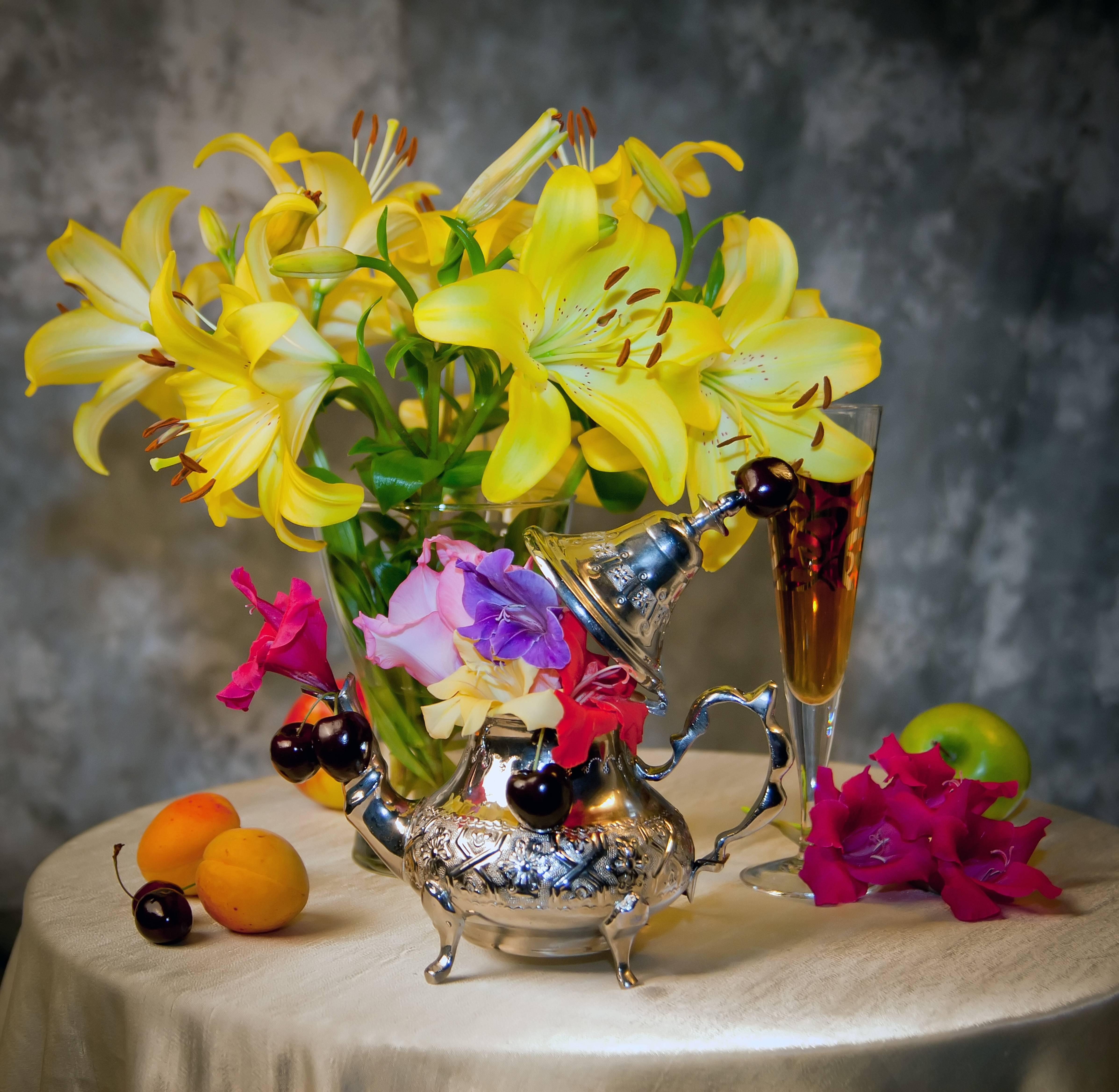 натюрморт, цветы, фрукты
