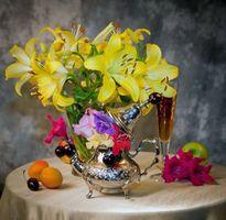 Бесплатные фото натюрморт, цветы, фрукты