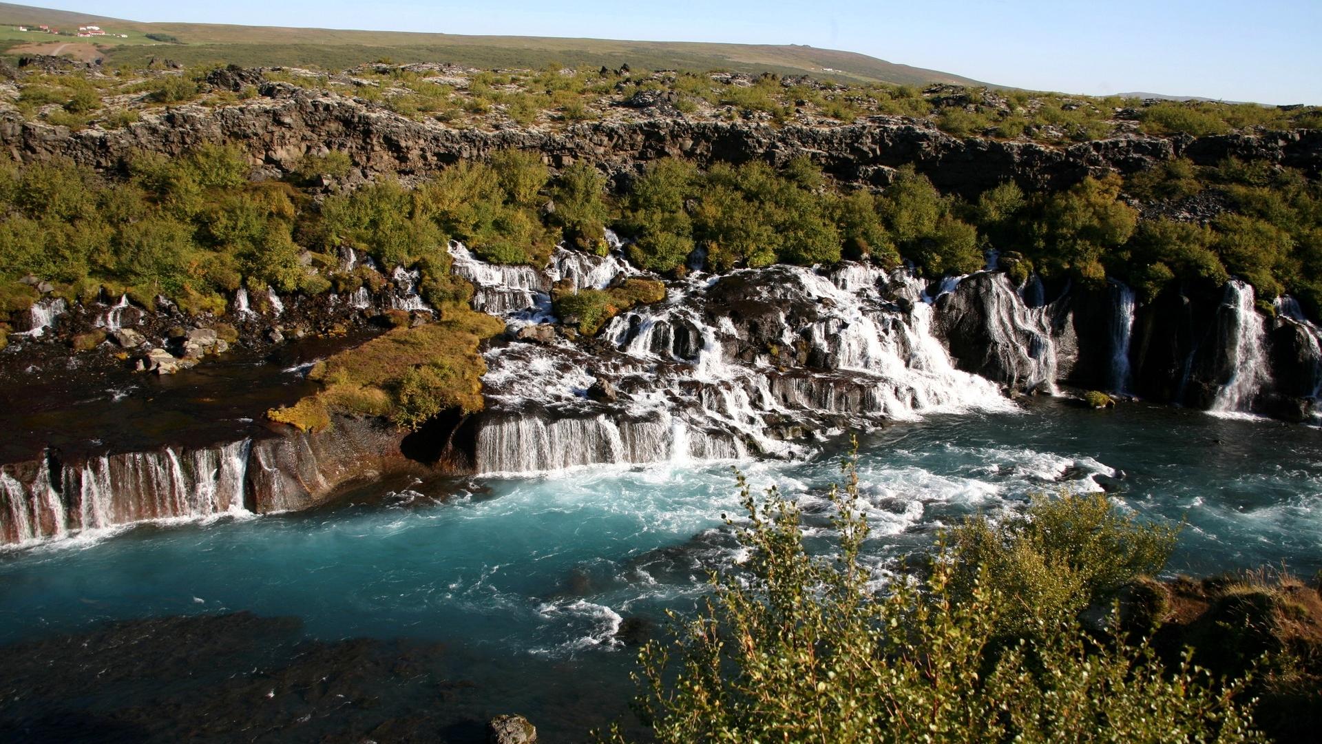 горы, камни, водопады