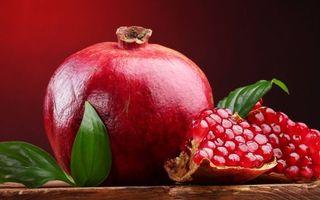 Бесплатные фото гранат, плод, зерна, листья зеленые