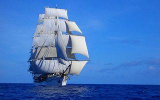 Заставки море,корабль,мачты,паруса,горизонт,небо
