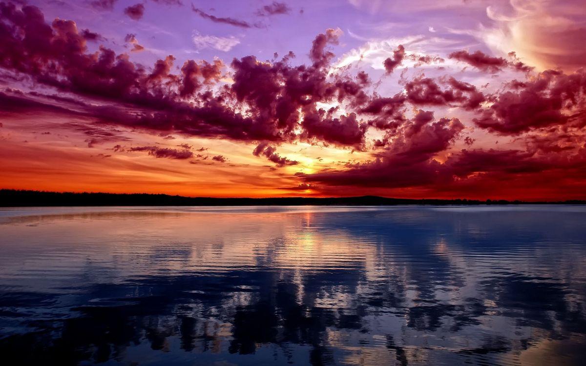 Фото бесплатно вечер, озеро, отражение, горизонт, небо, облака, закат, пейзажи