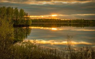 Фото бесплатно красивое озеро, закат, заводь