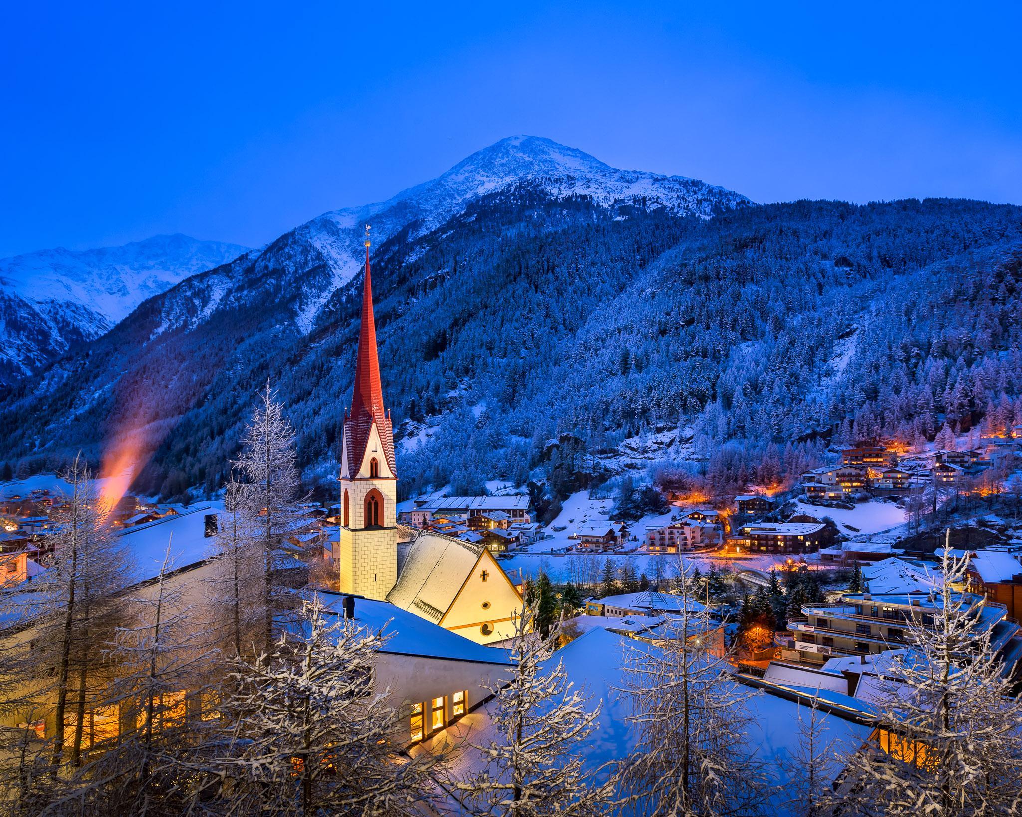 обои Горнолыжный курорт Зёльден, Тироль, Австрия, зима картинки фото