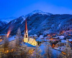 Бесплатные фото Горнолыжный курорт Зёльден, Тироль, Австрия, зима, город, дома, горы