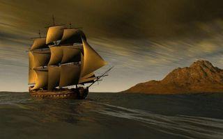 Бесплатные фото море,корабль,парусник,мачты,берег,гора