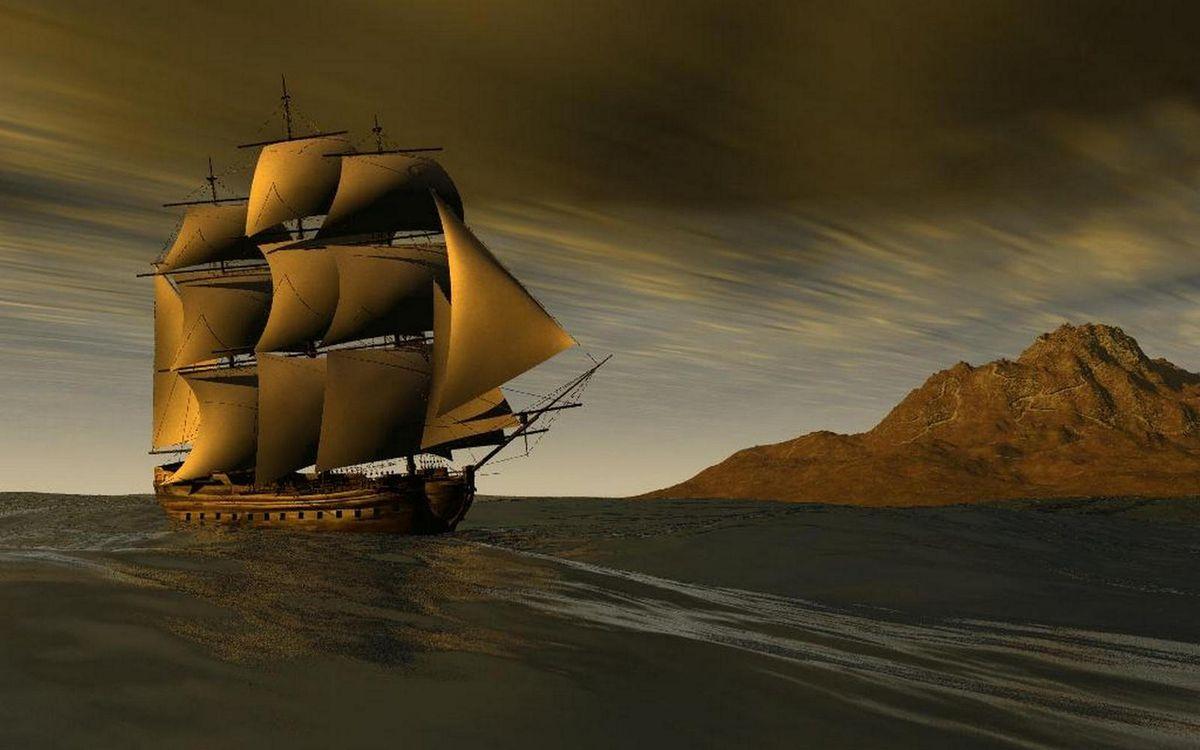 Photos for free ship, mountain, mast - to the desktop