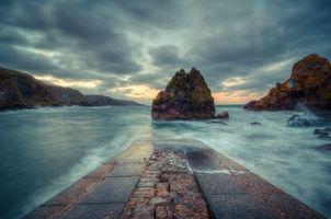 Бесплатные фото морской пейзаж,Шотландские границы,Беруикшир,Северное море,Шотландия,Великобритания,закат