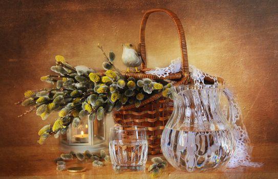 Photo free willow, carafe, water