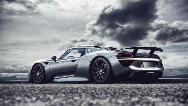 Фото бесплатно Porsche 918 Spyder, спорткар, тучи