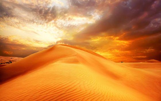 Photo free barkhans, desert, clouds