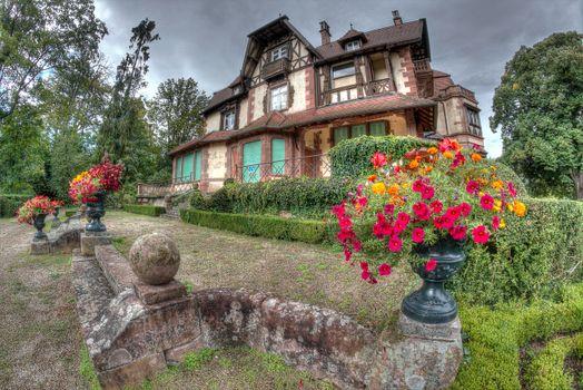 Фото бесплатно Parc Leonardsau Boersch, Эльзас, дом, усадьба, цветы, Франция