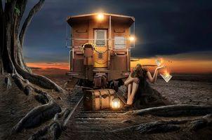 Бесплатные фото девушка,железная дорога,вагон,фонари,письмо,ночь,ситуация